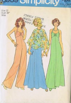 VINTAGE DRESS JUMPSUIT SEWING PATTERN 6939 SIMPLICITY SZ 12 BUST 34 HIP 36 UNCUT