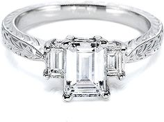 This image shows the setting with a 1.50ct emerald cut diamond. The setting can be ordered to accommodate any shape/size diamond listed in the setting details section below.