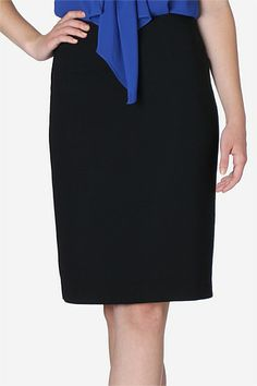 Black Crepe Slim Skirt   A great foundation for any woman's wardrobe is a classic black crepe pencil skirt. The pencil silhouette transitions with ease from day to night. Team with a billowy blouse for ladylike elegance.