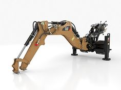 Cat® backhoe attachments are used in typical backhoe applications such as digging footings, basements, and drainage ditches. Mechanical Arm, Mechanical Design, Industrial Machinery, Heavy Machinery, Cyberpunk City, Robot Concept Art, Robot Arm, Heavy Equipment, Autos