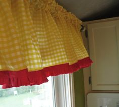 Yellow gingham curtains - reverse colors: red curtain with yellow trim for kitchen