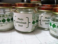 Baby Food Jar  Leprechaun Dust (Pistachio Instant Pudding Mix)  Add Milk  Put on an Irish Jig, and let the class shake their jars...  Watch the MAGIC work as the mixture magically turns GREEN.    Refrigerate, and have a festive St. Patty's afternoon pudding snack!