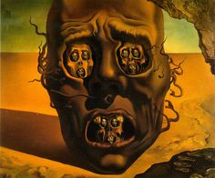 The Face of War, 1940. The trauma and the view of war had often served as inspiration for Dalí's work. He sometimes believed his artistic vision to be premonitions of war. In its mouth and eye sockets are identical faces. In their mouths and eyes are more identical faces in a process implied to be infinite.