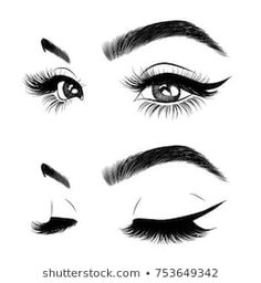 icu ~ Pin on On brand ~ - Hand-drawn woman's sexy luxurious eye with perfectly shaped eyebrows and full lashes. Idea for business visit card, typography vector.Perfect salon look. How To Draw Eyelashes, Eyelashes Drawing, False Eyelashes, Pencil Art Drawings, Cool Art Drawings, Eyebrows Sketch, Eyelash Logo, Lashes Logo, Beauty Logo