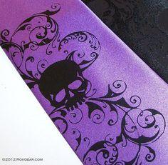 Skull necktie purple microfiber mens tie distressed by RokGear