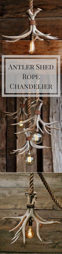 The Cabin Lit Chandelier - Antler Shed Pendant Rope Light - Hanging ceiling Accent lighting - Rustic industrial Deer fixture Cabin Lighting, Rustic Lighting, Accent Lighting, Industrial Lighting, Kitchen Lighting, Lighting Ideas, Deer Antler Crafts, Antler Art, Deer Decor