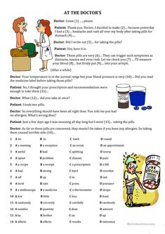 Health Problems-Quiz worksheet - Free ESL printable worksheets made by teachers English Reading, English Study, Learn English, English Quiz, English Lessons, Nursing Math, Doctor For Kids, Health Words, Learning Techniques