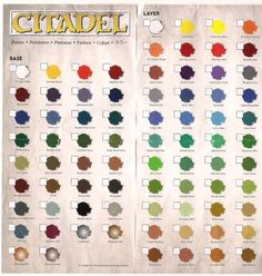 New Citadel Paint Charts. While I did not go through them and count, I am assuming they are all there. I might end up doing that afte. Painting Tips, Figure Painting, Painting Tutorials, Paint Charts, Stormcast Eternals, Warhammer 40k Art, Paint Brands, Fantasy Miniatures, Paint Stain