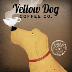 Combine your love of dogs and coffee with this square canvas art print. Yellow dog coffee company art is a fun addition to your kitchen. Dog Love, Puppy Love, Dog Coffee, Coffee Shop, Coffee Break, Coffee Talk, Café Chocolate, Kitchen Posters, Kitchen Wall Art