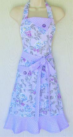 Lavender Floral Apron Pink Roses Cottage Chic Vintage