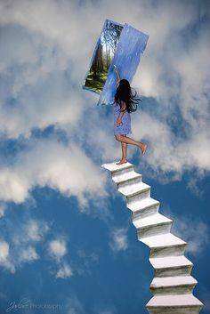 Changer le décor du rêve lucide stairway to heaven. Fantasy Kunst, Fantasy Art, Creative Photography, Art Photography, Rainbow Photography, Dream Art, Surreal Art, Collage Art, Amazing Art
