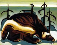 Wolverine Unlimited edition print by Nathalie Parenteau. There is a humorous side to Nathalie's art which leads to her whimsical images. Nathalie currently resides in Whitehourse, Yukon. Wolverine Tattoo, Wolverine Animal, Winter Sky, Native Art, Animal Tattoos, Animal Design, Fantasy Characters, Spirit Animal, Art Drawings