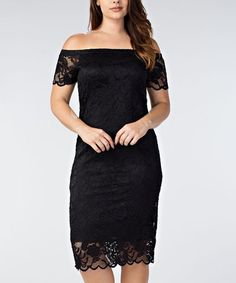 Love this Black Embroidered Lace Bodycon Dress - Plus on #zulily! #zulilyfinds