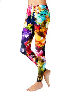 These colorful yoga leggings will make you look fabulous at your next class! The geometric print is super flattering, and the colors really pop!  My custom artwork leggings are designed, by me, in NYC and printed and sewn by hand in Canada, sweatshop free. -Made from 88% polyester 12% spandex performance wear fabric manufactured in Canada.  -Ultra-stretch fabric holds shape even after multiple wearings  -High waist. Elastic generally will rise just under your belly button for most sizes…
