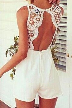 White Sexy Stitching Lace Sleeveless Playsuit - US$15.95 -YOINS