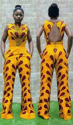 Exclusive Zizibespoke Cutout Wideleg Jumpsuit is made with high quality cotton African Print Fabric. African Fashion Designers, African Inspired Fashion, African Dresses For Women, African Print Dresses, African Print Fashion, Africa Fashion, African Attire, African Wear, African Fashion Dresses