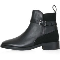 TopShop Angelo Suede Panel Jodphur Ankle Boots (17 CAD) ❤ liked on Polyvore featuring shoes, boots, ankle booties, botas, ankle boots, black, black ankle booties, black buckle boots, short boots and buckle ankle boots