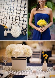 Love the textures in this blue and yellow decor, Inspiration for Mobella Events, www.mobellaevents.com, Wedding Planner Orlando, Wedding Coordinator St. Petersburg, FL