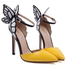 Fashionable Women's Pumps With Butterfly Wings and Color Block Design (YELLOW,40)   Sammydress.com Mobile