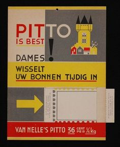 """Tekstbord Van Nelle's """"PITTO"""" met venster voor voorbeeld distributiebonnen"""