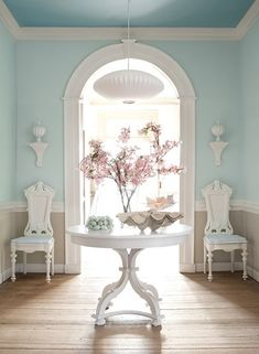 Love these colors for our living room and dining room. I never thought of painting the ceiling anything but white.