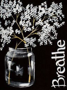 16 EASY Acrylic paintings you can do with cotton Swabs. Q-tip cotton BREATHE babies breath in mason Jar 3 color Easy Beginner Acrylic painting By The Art Sherpa