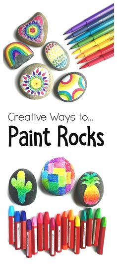 4 Creative ways to paint and decorate rocks! All kinds of tips of supplies to use in this fun art project and craft for kids of all ages! Perfect for summer and rock hunting! ~ From Color Made Happy (Diy Art Projects) Cool Art Projects, Craft Projects, Project Ideas, Diy Projects For Kids, Craft Ideas, Arts And Crafts For Kids For Summer, Summer Art Projects, Kindergarten Art Projects, Diy Ideas