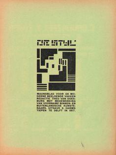 De Stijl magazine, Theo van Doesburg, 1917