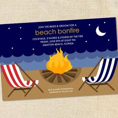 Beach Bonfire Invitations for Pre-Wedding Parties, Birthday Celebrations and Coastal Gatherings by Sweet Wishes Stationery