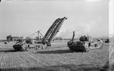 Churchill AVRE with Small Box Girder Bridge and Churchill Crocodile Bridge Builder, Military Engineering, D Day Normandy, Royal Engineers, Ww2 Pictures, British Army, British Tanks, Ww2 Tanks, Armored Vehicles