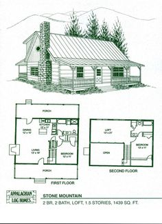 Cabin Home Plans With Loft | Log Home Floor Plans   Log Cabin Kits    Appalachian