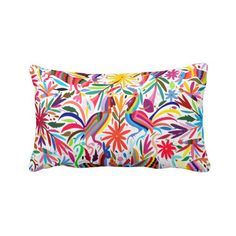 Colorful Otomi Throw Pillow Cover Bright by PatternBehavior