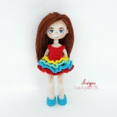 """Pattern """"Doll Kate + clothes (dress and shoes)"""", amigurumi crochet doll, crochet doll pattern, amugurumi pattern, pdf pattern Crochet Doll Dress, Crochet Doll Clothes, Crochet Doll Pattern, Crochet Patterns, Crochet Amigurumi, Amigurumi Doll, Amigurumi Patterns, Hair Yarn, Crochet Mignon"""