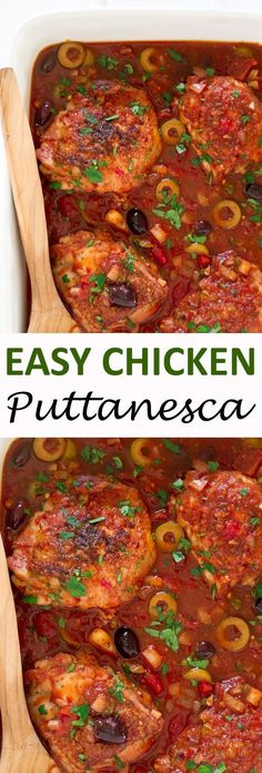 30 Minute Chicken Puttanesca. Juicy chicken thighs simmered in a rich tomato broth with olives and capers. | chefsavvy.com #recipe #chicken #puttanesca #dinner