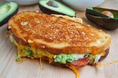 Bacon Guac Grilled Cheese - OK not too healthy like that, but will try it with turkey bacon, low fat cheese...looks yummy gooey though!