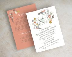 Boho chic floral wedding invitation, botanical flowers, botanical wedding invitation, garden wedding invite, peach, gray, baby blue, Myriame