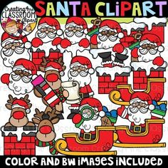 Santa Clipart {Christmas Clipart} Vibrant and Whimsical Santa Clipart is sure to add a pop to all of your Holiday classroom resources! Bonus Face and Toppers provided for Santa. Santas are also provided in 2 skin tones-perfect for customizing your resources! There are a total of 44 images (27 color and 17 bw).