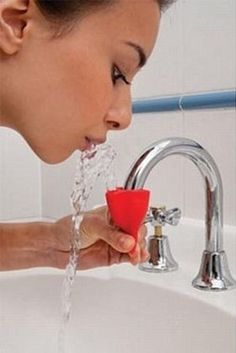 cool idea. put it on your faucet and water flows down normal, squeeze the bottom and it comes out of the top so you can rinse!