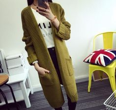 Chic Womens Long Casual Cardigan Knitted Trench Sweater Coats Jackets Outwears