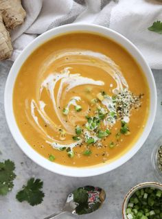 silky ginger sweet potato soup I howsweeteats.com #soup #sweetpotatoes #ginger #vegan