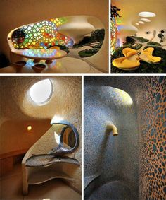Few natural objects evoke images in our minds of such perfect, beautiful curves and swirls as do sea shells. This highly unusual, sculptural home by Senosiain Arquitectos looks like it might have come from some monstrous deep-sea creature, its front wall made up of colorful stained glass. Inside, the home features a living room, kitchen, bathroom and upper bedroom, punctuated by round windows and skylights that highlight the curving surfaces and organic textures of the walls.