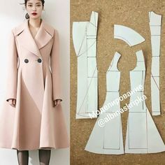 Pattern coat with a large collar from Anastasia Korfiati,We sew the stylish shortened coat. Coat Patterns, Dress Sewing Patterns, Clothing Patterns, Barbie Clothes, Sewing Clothes, Diy Clothes, Blazer Pattern, Jacket Pattern, Fashion Sewing