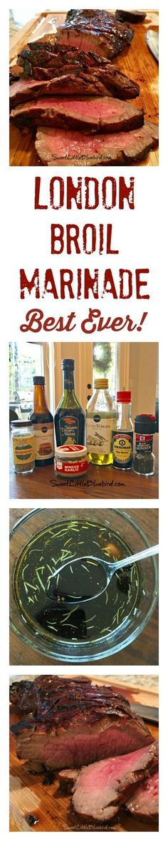 BEST-EVER LONDON BROIL MARINADE - My go-to for the BEST London Broil! A favorite tried & true recipe! Just a few few simple ingredients I always have in hand. Grilling Recipes, Meat Recipes, Cooking Recipes, Dinner Recipes, Beef Dishes, Food Dishes, Main Dishes, London Broil Marinade, Gourmet