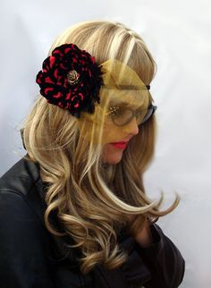 $8.00 - Women's Boho Chic Stretch Red Flower Headband With Gold Blusher by OnceUponAPoodle at https://www.etsy.com/listing/120950739/elegant-floral-stretch-headband-womens?ref=v1_other_2