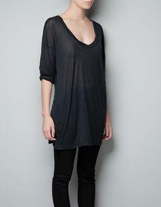 STRIPED WOOL T-SHIRT - T-shirts - Woman - ZARA  Ref. 1551/229