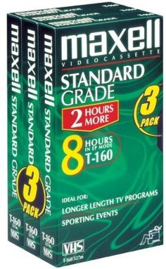 """Maxell 3Pk T160 Hi-Quality VHS Tape Case Pack 2 by Maxell. $57.48. Maxell 213035/213030 Standard Quality VHS Video Tapes (8 Hours, 3 Pk). High-Quality Videotape Provides Clearer, Sharper Pictures & Brighter Colors; Outstanding Tape Durability Capable Of Withstanding The Day-To-Day Demands Of Multi-Purpose Recording; Great For Recording In Extended-Play Modes; 8 Hours; 3 Pk"""" Case Pack 2"""