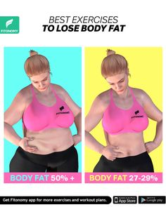 LOSE BODY FAT : Low the percent of your belly fat by completing these four workouts that will help you get a flat stomach. Gym Workout Videos, Fun Workouts, At Home Workouts, Workout To Lose Weight Fast, Flexibility Workout, Lose Body Fat, Belly Fat Workout, Hiit, Workout Challenge