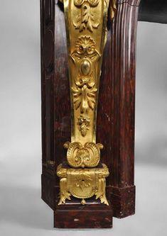 Исключительный камин из красного мрамора Griotte с золочеными бронзовыми кариатидами с гербом Френсиса Инграма-Сеймура-Конвей