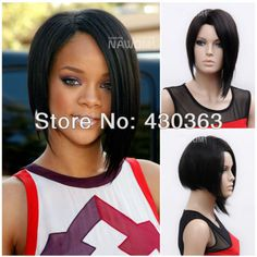 Women Wig Short Straight Hair Wig Black Bob Natural Full Wigs For Cosplay Party Rihanna Hairstyles, Black Women Hairstyles, Wig Hairstyles, Straight Hairstyles, Short Hairstyle, Natural Hairstyles, Zury Wigs, Straight Hair Highlights, Real Wigs
