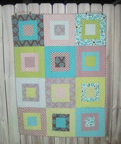 Grey, blue & green quilt = heavenly. From Kelly at kelbysews http://www.flickr.com/photos/kelbysews/5560054238/in/set-72157624004017109/